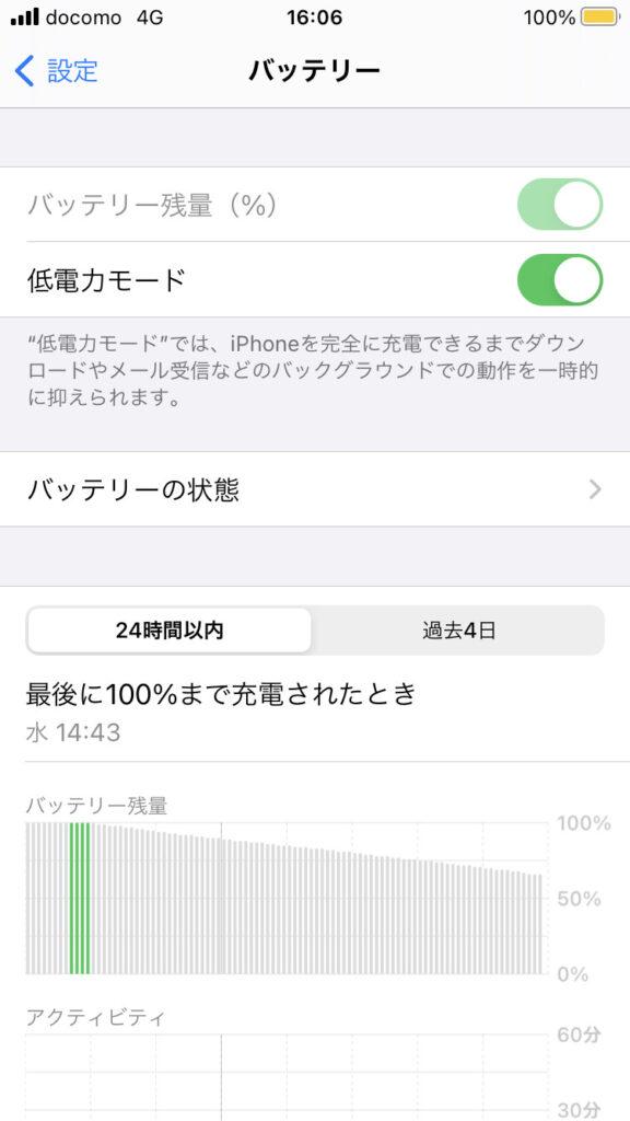 iPhoneの低電力モードの設定