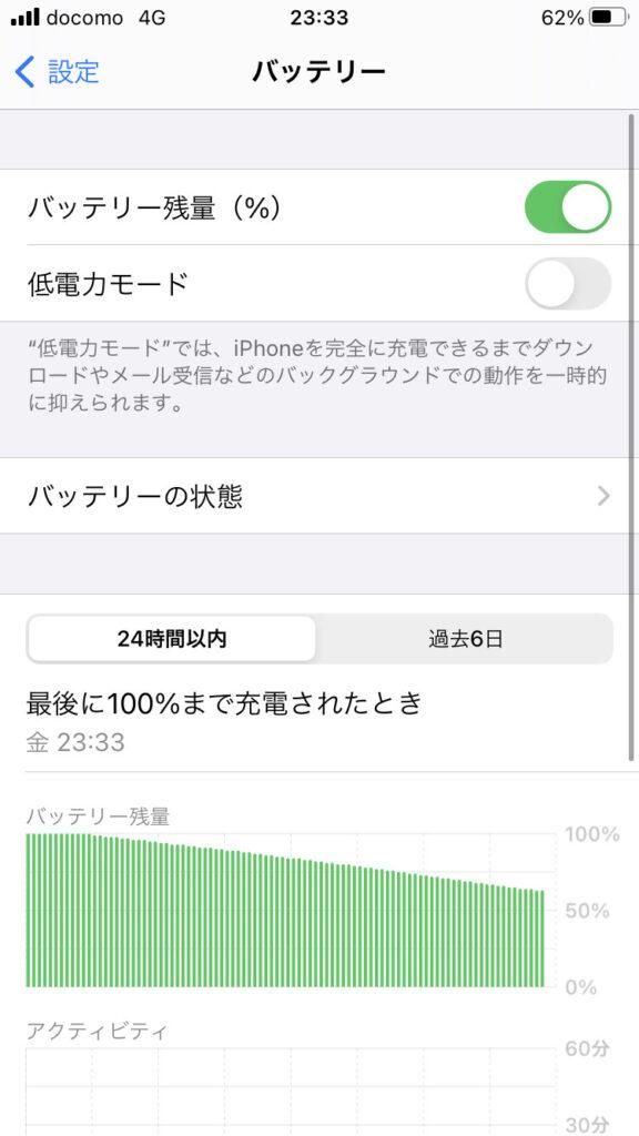 iPhoneの接続設定の結果